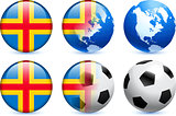 Aland Islands Flag Button with Global Soccer Event