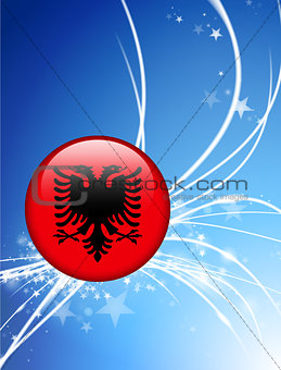 Albania Flag Button on Abstract Light Background