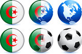 Algeria Flag Button with Global Soccer Event
