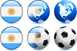 Argentina Flag Button with Global Soccer Event