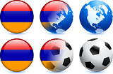 Armenia Flag Button with Global Soccer Event