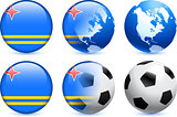Aruba Flag Button with Global Soccer Event