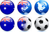Australia Flag Button with Global Soccer Event