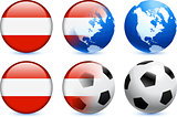 Austria Flag Button with Global Soccer Event