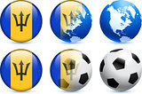 Barbados Flag Button with Global Soccer Event