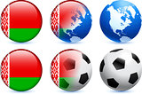 Belarus Flag Button with Global Soccer Event