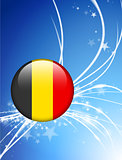 Belgium Flag Button on Abstract Light Background