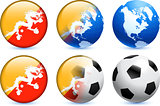 Bhutan Flag Button with Global Soccer Event