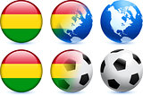 Bolivia Flag Button with Global Soccer Event