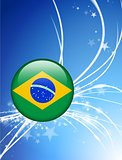 Brazil Flag Button on Abstract Light Background