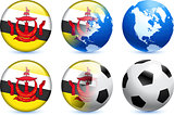 Brunei Darussalam Flag Button with Global Soccer Event