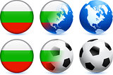 Bulgaria Flag Button with Global Soccer Event