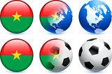 Burkina Faso Flag Button with Global Soccer Event