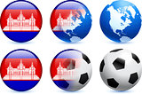 Cambodia Flag Button with Global Soccer Event