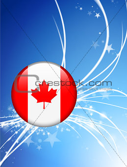 Canada Flag Button on Abstract Light Background