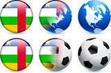 Central African Republic Flag Button with Global Soccer Event