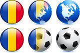 Chad Flag Button with Global Soccer Event