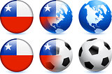 Chile Flag Button with Global Soccer Event