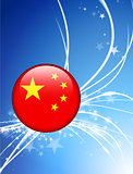 China Flag Button on Abstract Light Background