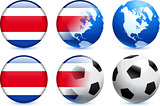Costa Rica Flag Button with Global Soccer Event
