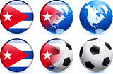 Cuba Flag Button with Global Soccer Event