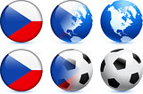 Czech Republic Flag Button with Global Soccer Event
