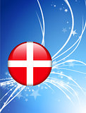 Denmark Flag Button on Abstract Light Background