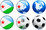 Djibouti Flag Button with Global Soccer Event