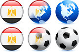 Egypt Flag Button with Global Soccer Event