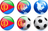 Eritrea Flag Button with Global Soccer Event