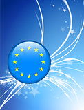 European Union Flag Button on Abstract Light Background