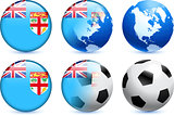 Fiji Flag Button with Global Soccer Event