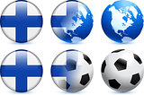 Finland Flag Button with Global Soccer Event