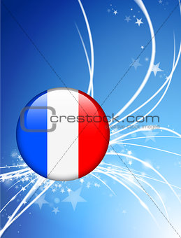 France Flag Button on Abstract Light Background