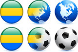 Gabon Flag Button with Global Soccer Event