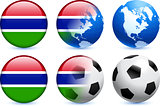 Gambia Flag Button with Global Soccer Event