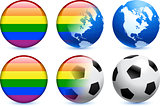 Gay Flag Button with Global Soccer Event