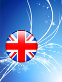 Great Britain Flag Button on Abstract Light Background