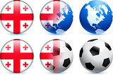 Georgia Flag Button with Global Soccer Event