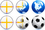Guernsey Flag Button with Global Soccer Event