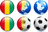 Guinea Flag Button with Global Soccer Event