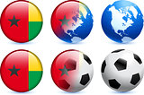 Guinea Bissau Flag Button with Global Soccer Event