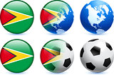 Guyana Flag Button with Global Soccer Event