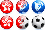 Hong Kong Flag Button with Global Soccer Event