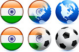 India Flag Button with Global Soccer Event