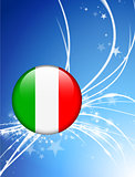 Italy Flag Button on Abstract Light Background