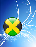 Jamaica Flag Button on Abstract Light Background
