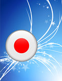 Japan Flag Button on Abstract Light Background