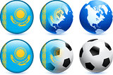 Kazakhstan Flag Button with Global Soccer Event