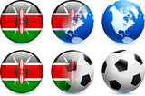 Kenya Flag Button with Global Soccer Event